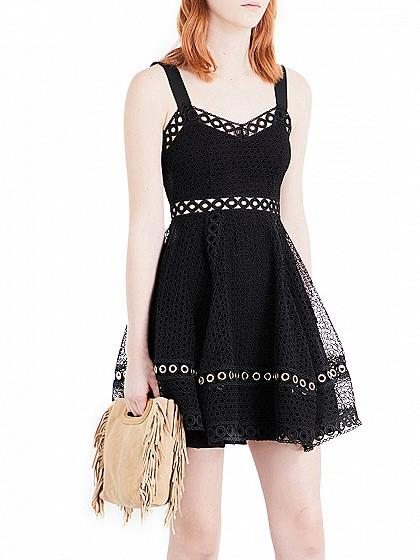 DaysCloth Black Sweetheart Cutwork Lace Skater Dress