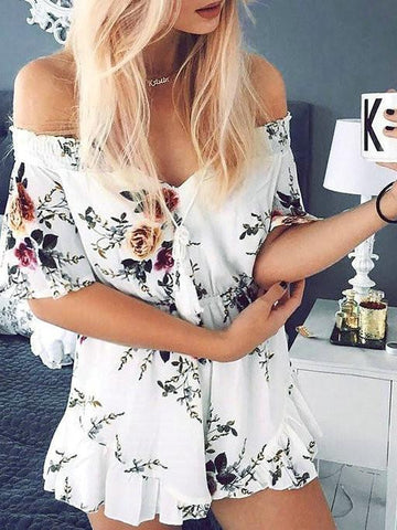 DaysCloth Boho Floral Print Bateau Backless Off Shoulder Romper