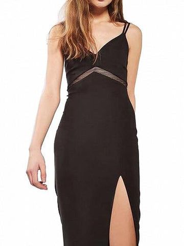 DaysCloth Black V-neck Mesh Paneled Side Split Spaghetti Strap Bodycon Dress