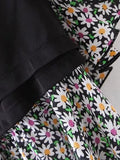 Black High Waist Daisy Print Ruffle Hem Mini Skirt