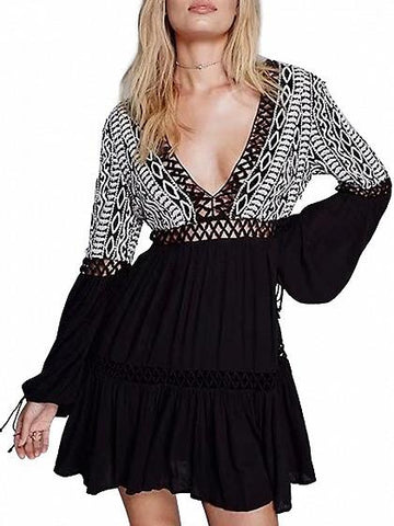 Black Contrast Long Sleeve Plunge V-neck Lace Paneled Tie Back Mini Dress