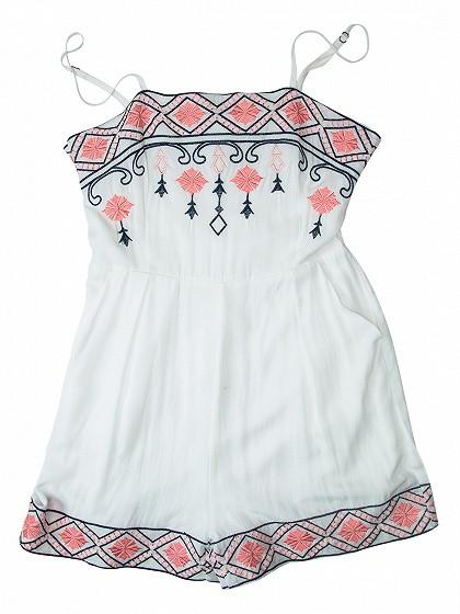 White Folk Embroidery Cami Romper Playsuit