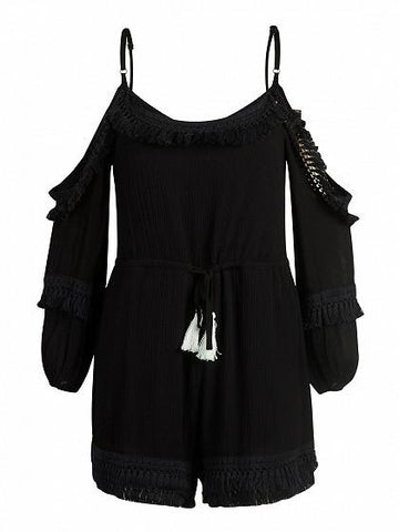 DaysCloth Black Cold Shoulder Tassel Hem Spaghetti Strap Romper Playsuit