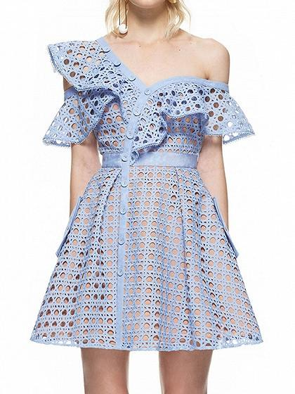 Blue One Shoulder Eyelet Cutwork Lace Asymmetric Frill Skater Dress
