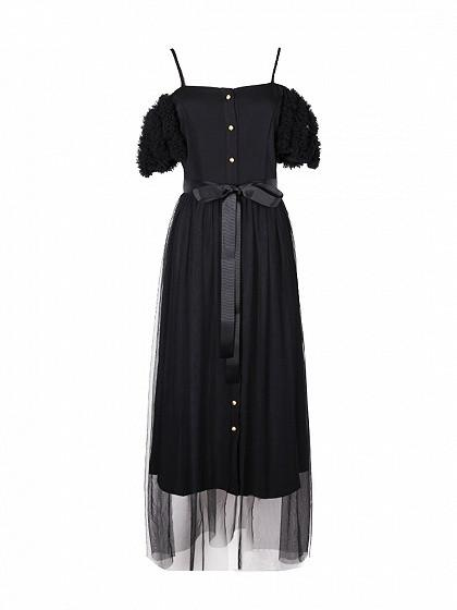 Black Cold Shoulder Tie Waist Tulle Overlay Maxi Dress