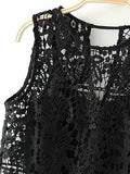 Black Cut Out Back Crochet Lace Vest