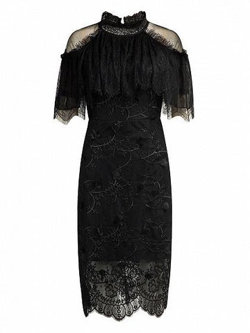 Black High Neck Cape Cold Shoulder Lace Midi Dress