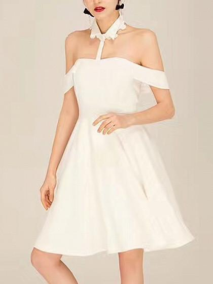 White Halter Shirt Collar Off Shoulder Dress