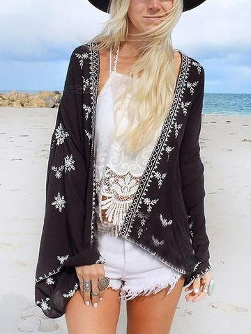 Black Floral Open Front Flared Sleeve Beach Kimono