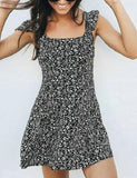 Fashion Sweet Lingering Splash Print Dress