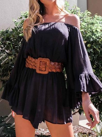 DaysCloth Black Off Shoulder Cape sleeve Ruffle Cuff Romper Playsuit