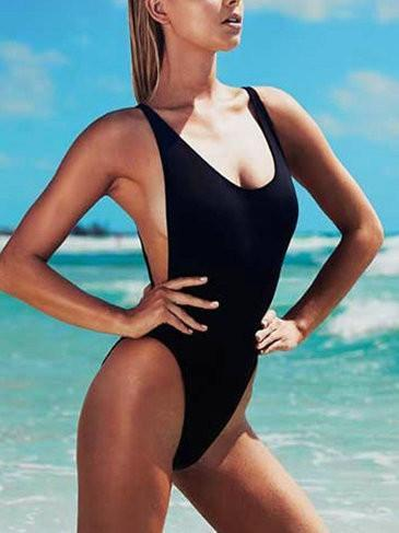 Sexy Open Back Solid Color One Piece Bikini