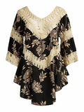 Black Contrast Crochet Panel Floral Print Asymmetric Hem Dress