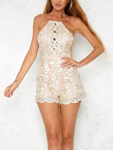 Beige Backless Spaghetti Strap Embroidery Lace Scalloped Hem Romper Playsuit
