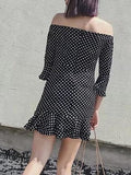 Black Off Shoulder Polka Dot Flare Sleeve Mini Flounce Dress