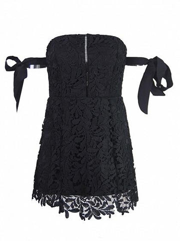 Black Bandeau Bardot Tie Sleeve Cutwork Lace Ladder Mini Dress
