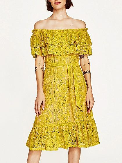 DaysCloth Yellow Off Shoulder Tie Waist Ruffle Trim Midi Lace Dress