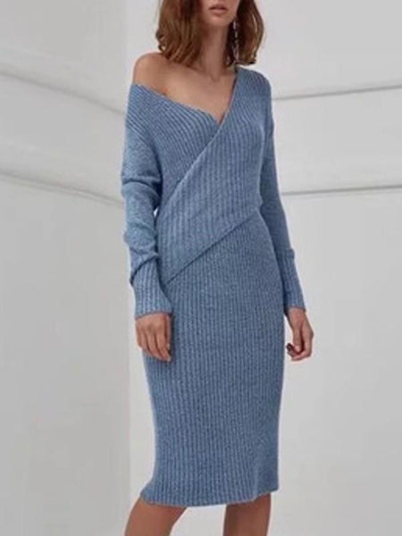 New Blue Irregular V-neck Long Sleeve Casual Midi Dress