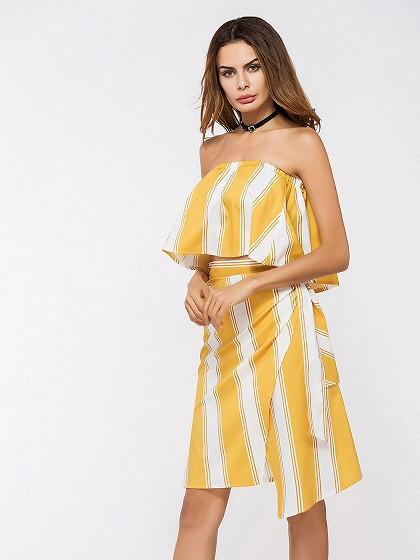 DaysCloth Yellow Stripe Ruffle Bandeau Top and Wrap Asymmetric Skirt Set