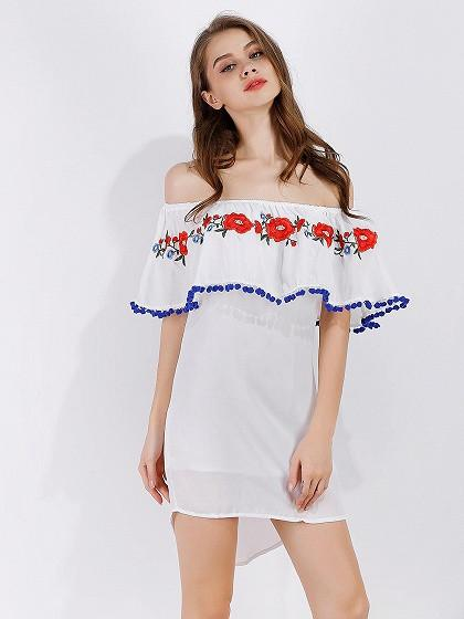 DaysCloth White Off Shoulder Embroidery Ruffle Prom Pom Dipped Hem Mini Dress