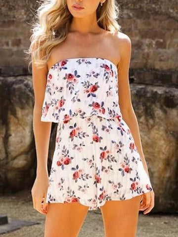 White Sexy Strapless Random Floral Bandeau Layered Top Romper Playsuit