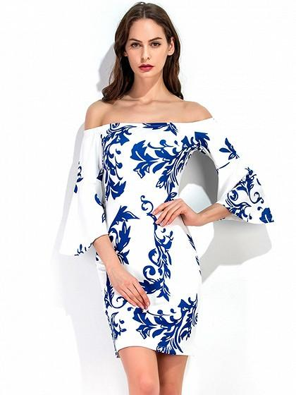 DaysCloth White Off Shoulder Porcelain Print Flare Sleeve Bodycon Dress