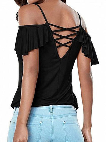 DaysCloth Black Cold Shoulder Cross Back Ruffle Sleeve Cami Top