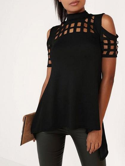 Black High Neck Lattice Cut Out Split Back Short Sleeve Cold Shoulder Top