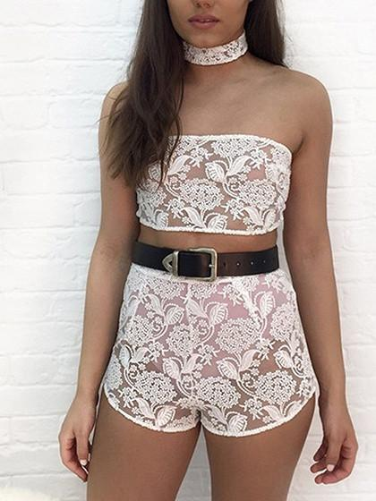 DaysCloth White Choker Neck Bandeau Embroidery Semi Sheer Crop Top And Shorts Clubwear