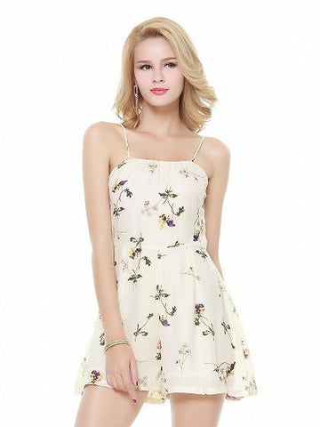 DaysCloth Beige Floral Spaghetti Strap Romper Playsuit