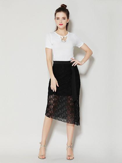 Black Lace Ring Belt Asymmetric Hem Split Midi Skirt