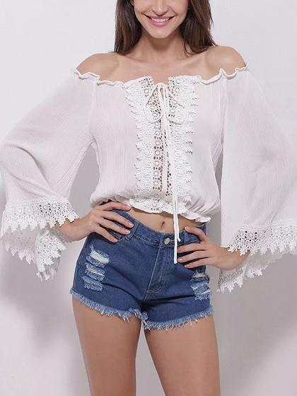 DaysCloth White Off Shoulder Lace Panel Wide Sleeve Crop Blouse