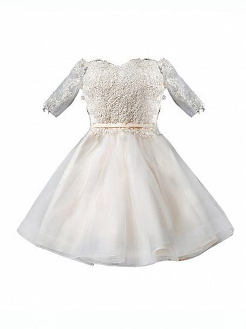 Beige Sweetheart Half Sleeve 3D Lace Mesh Skater Prom Dress