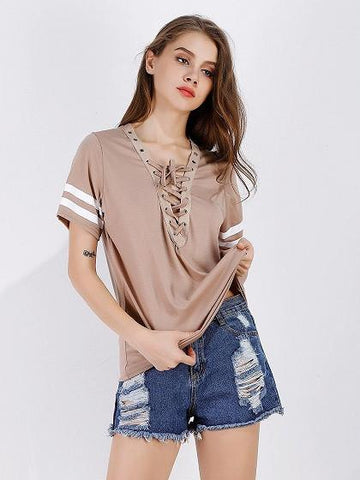 Beige Lace Up Front Stripe Sleeve T-shirt