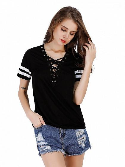 Black Lace Up Front Stripe Sleeve T-shirt