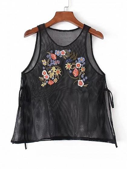 Black Embroidery Floral Tie Side Sheer Mesh Vest Top