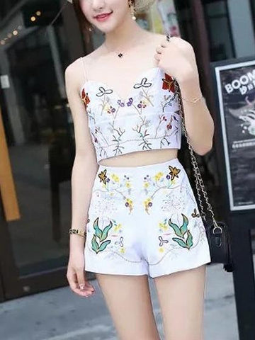 White V-neck Embroidery Floral Cut Out Spaghetti Strap Crop Top And Shorts