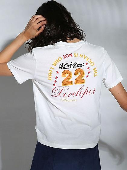 DaysCloth White Letter And Number Print Short T-shirt
