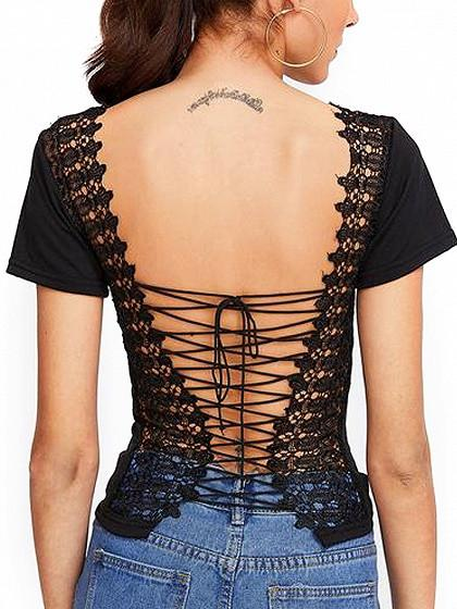 Black Lace Paneled Lace-up Back Short Sleeve T-shirt