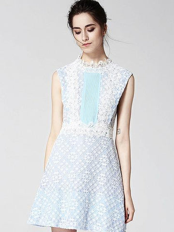 Blue Sleeveless Tie Back Lace Overlay A-line Mini Dress