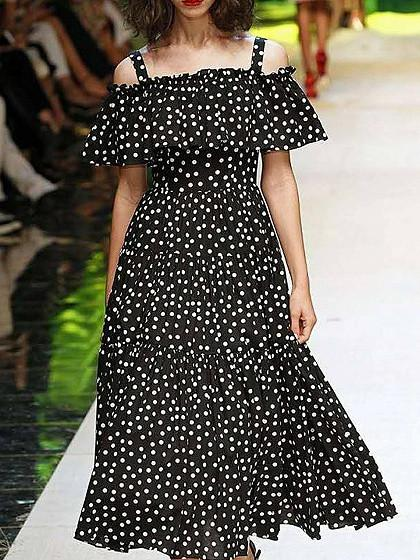 Black Cold Shoulder Polka Dot Ruffle Detail Maxi Dress