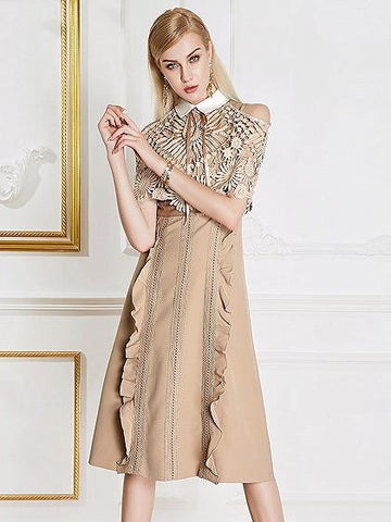 Khaki Cold Shoulder Lace Panel Pointed Collar Ruffle Trim Midi Dress