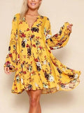 Yellow Floral V-neck Lace Panel Blouson Sleeves Mini Dress
