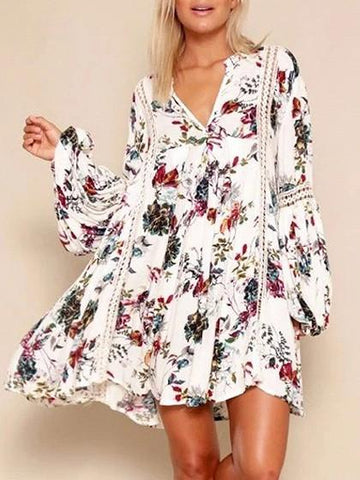 White Floral V-neck Lace Panel Blouson Sleeves Mini Dress