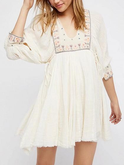 White V-neck Embroidery Tribal Tie Side Boho Mini Dress