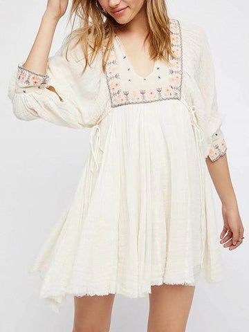 DaysCloth White V-neck Embroidery Tribal Tie Side Boho Mini Dress