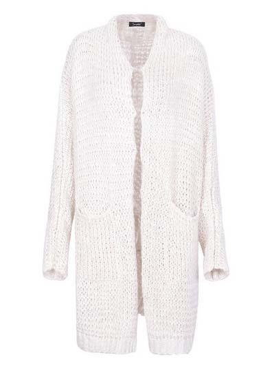 Beige Pointelle Stitch Long Sleeve Cardigan