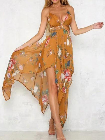 Yellow V-neck Floral Strap Backless Asymmetric Maxi Dress