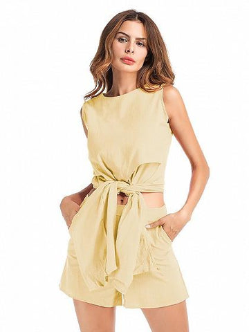 Beige Tie Front Sleeveless Crop Top And Shorts