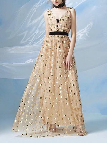 DaysCloth Gold V Front and Back Polka Dot Lined Mesh Maxi Dress